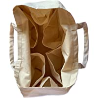 Reusable Grocery Bag – Eco friendly Shopping bag - Made from 100% Natural Cotton - Tote Bag - Canvas Bag - Spacious large bag with smart compartments and Shoulder Handles – Strong and Durable - Washable and Easy care bag for daily use