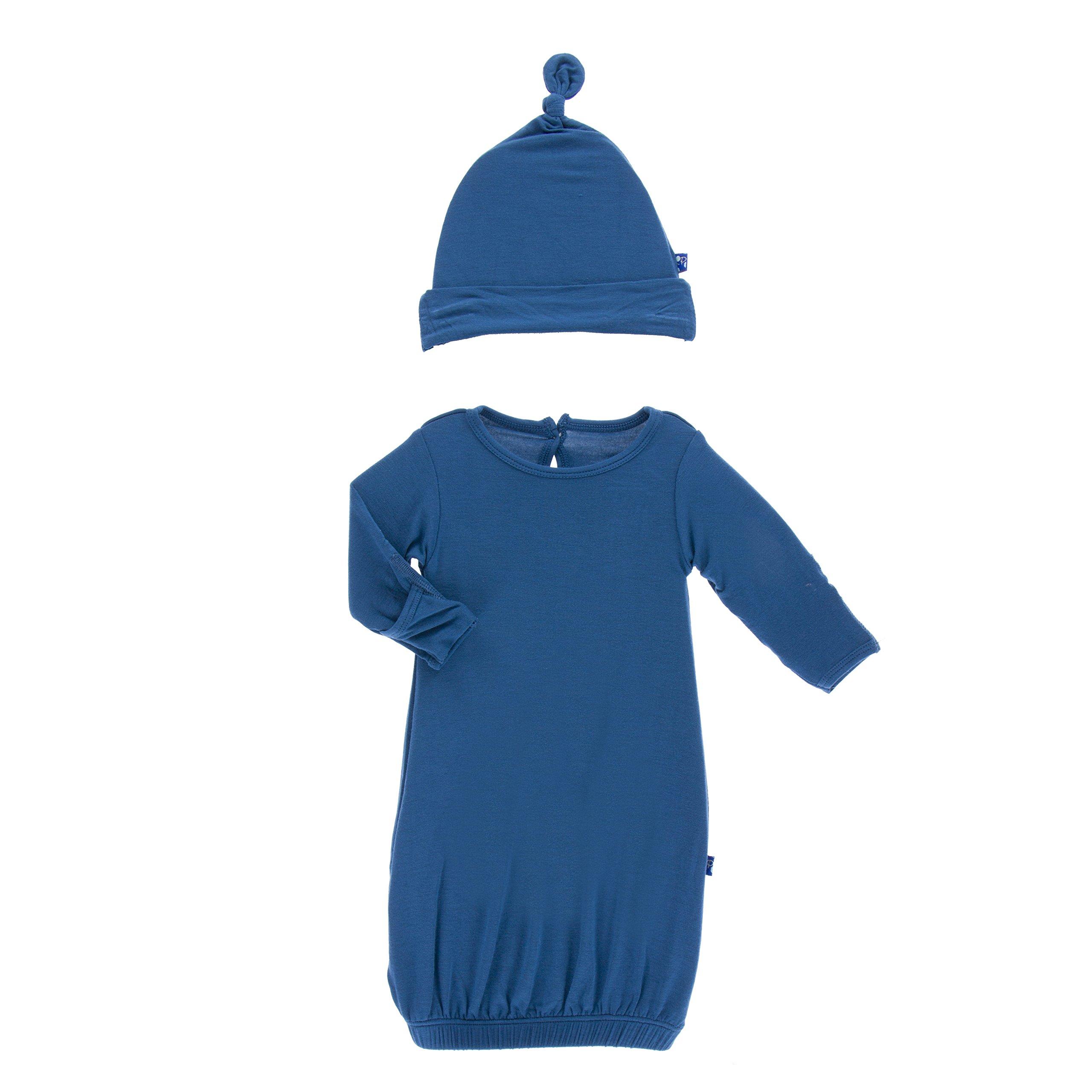 Kickee Pants Little Boys Solid Layette Gown & Knot Hat Set - Twilight, Newborn by Kickee Pants