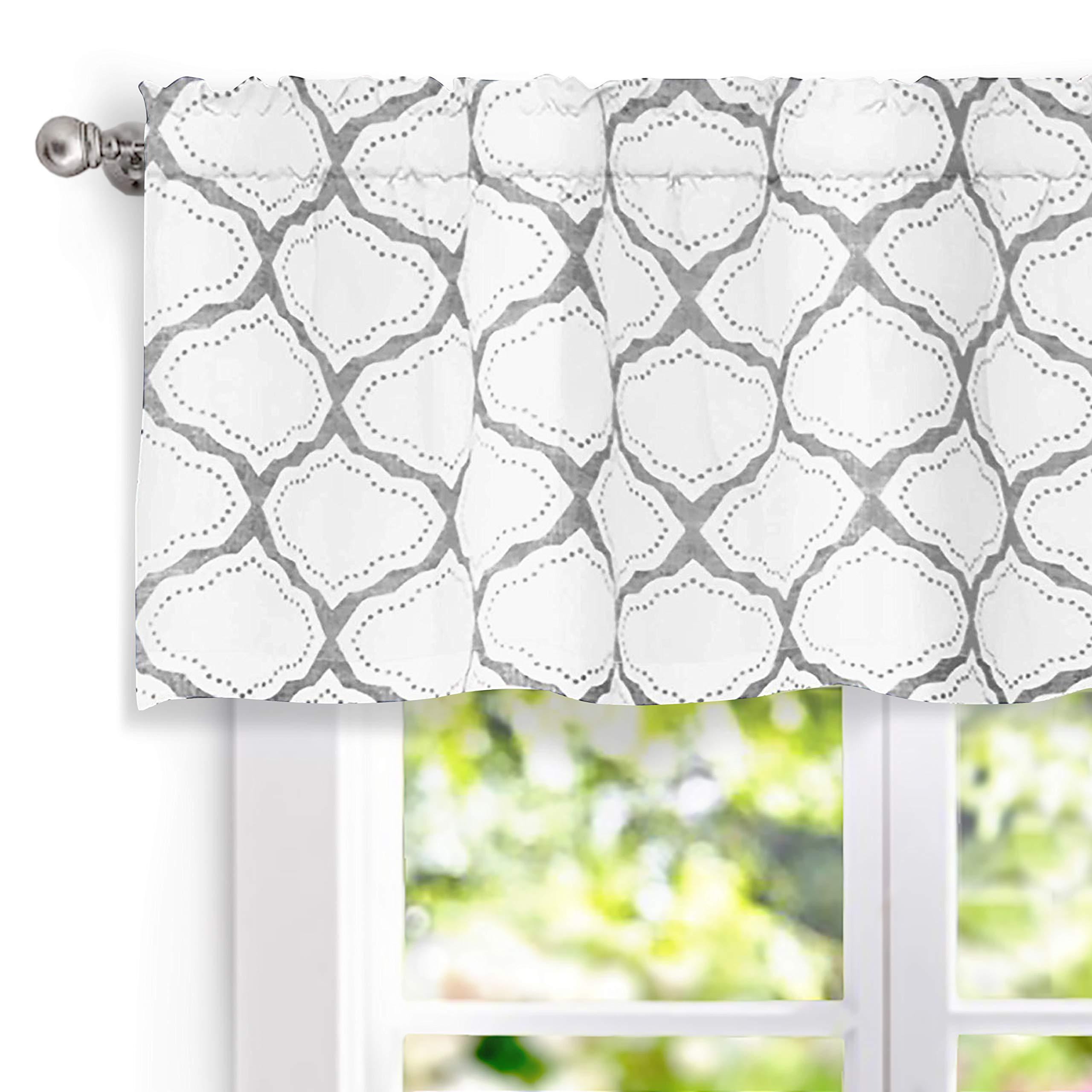 DriftAway Geo Trellis Window Curtain Valance, Rod Pocket, 52''x18'' (Gray)