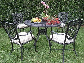 Outdoor Solid Cast Aluminum 5 Piece Liana Collection Patio Furniture Dining  Set D ST CBM1290