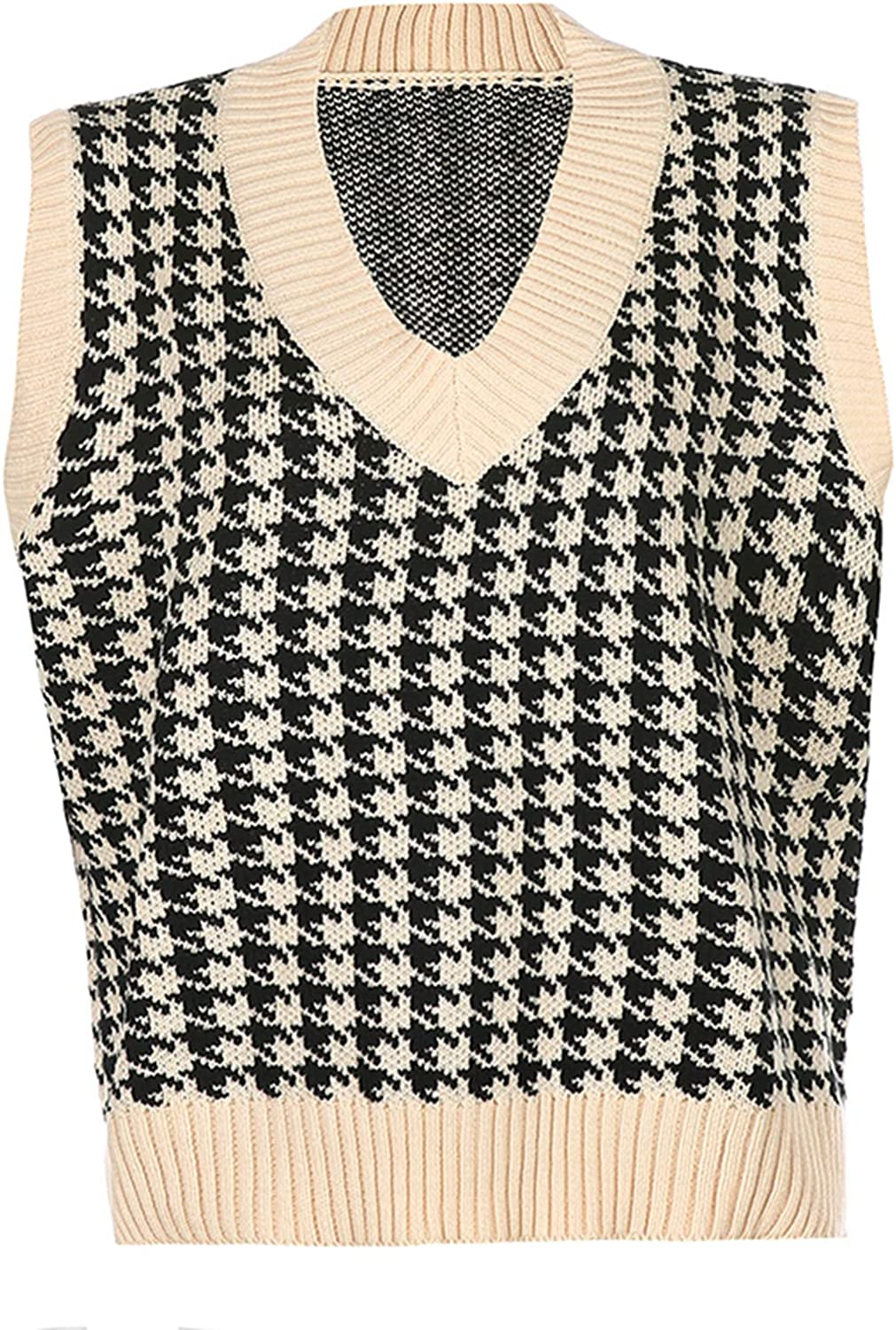 80s Sweatshirts, Sweaters, Vests | Women Women Oversized Houndstooth Sweater Vest Vintage Knitted V Neck Sleeveless Pullover Loose 90s Knitwear Tank Tops  AT vintagedancer.com