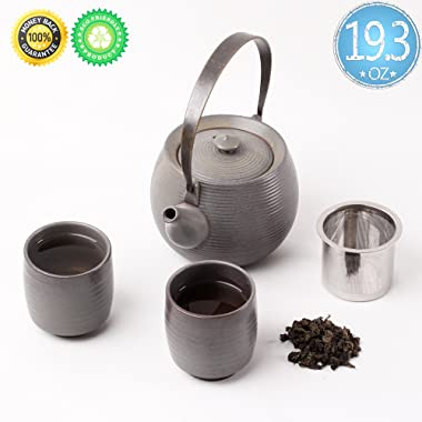 Ceramic Tea-Set For 2,Gift Box,TEANAGOO-Mimas,Tea-pot(19.3oz)Infuser Filter Strainer,infused 2 cup(5.8oz),Chinese Porcelain Handle Diffuser Warmer Unique Asian Adult Kongfu Japan Loose leaf Father Day