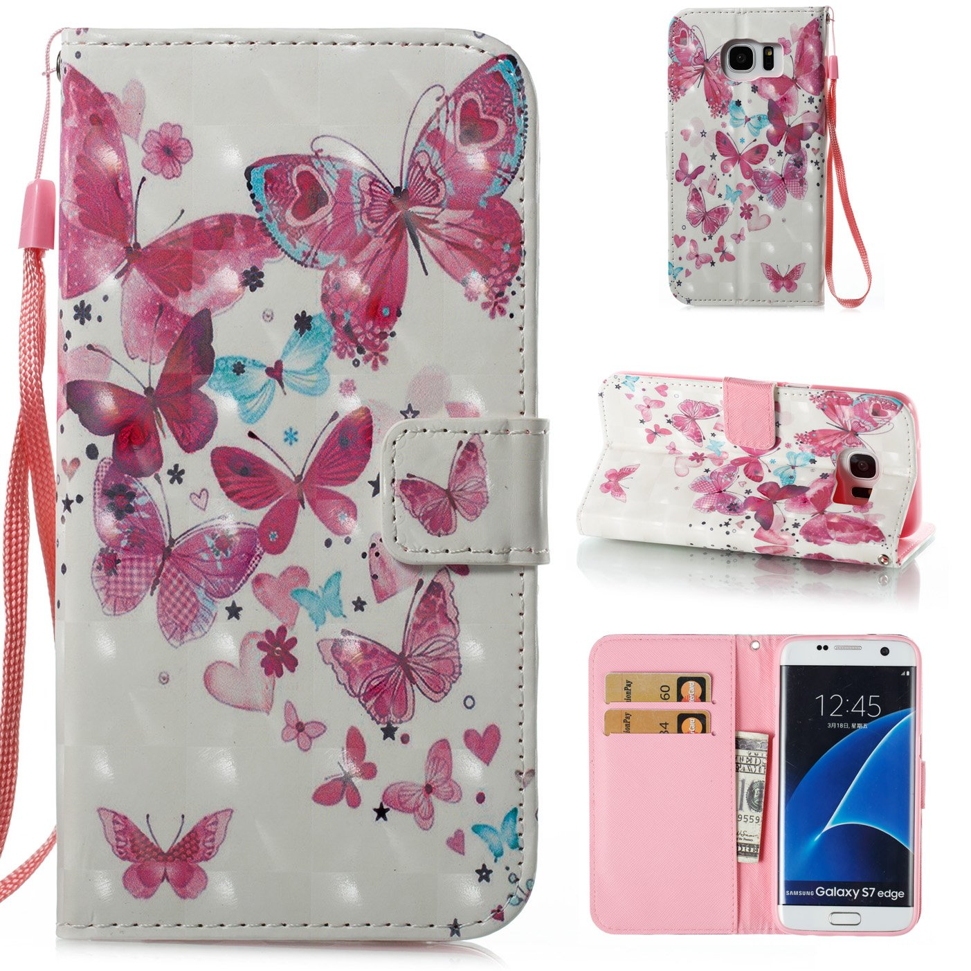 Galaxy S7 Edge 3D Phone Case, Samsung Galaxy S7 Edge Case with Fold Stand Feature, Gostyle Premium PU Leather Wallet Purple Butterfly Painted Pattern Magnetic Flip Cover with Card Slots.