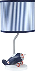 Carters Take Flight Airplane Nursery Lamp Base and Shade, Blue, Navy, Grey,