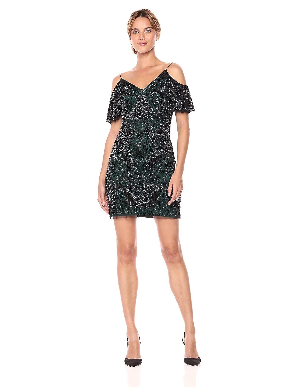 249235496eb Amazon.com  Aidan by Aidan Mattox Women s Cold Shoulder Beaded Cocktail  Dress  Clothing