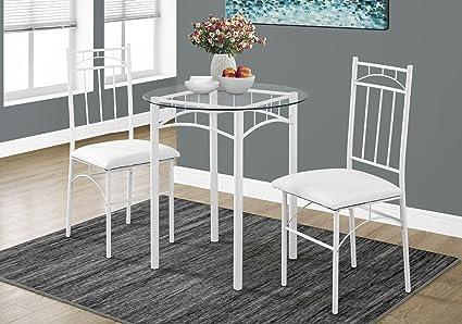 Gentil Monarch Specialties I 1001 Metal/Tempered Glass Dining Set (3 Pieces),  30u0026quot