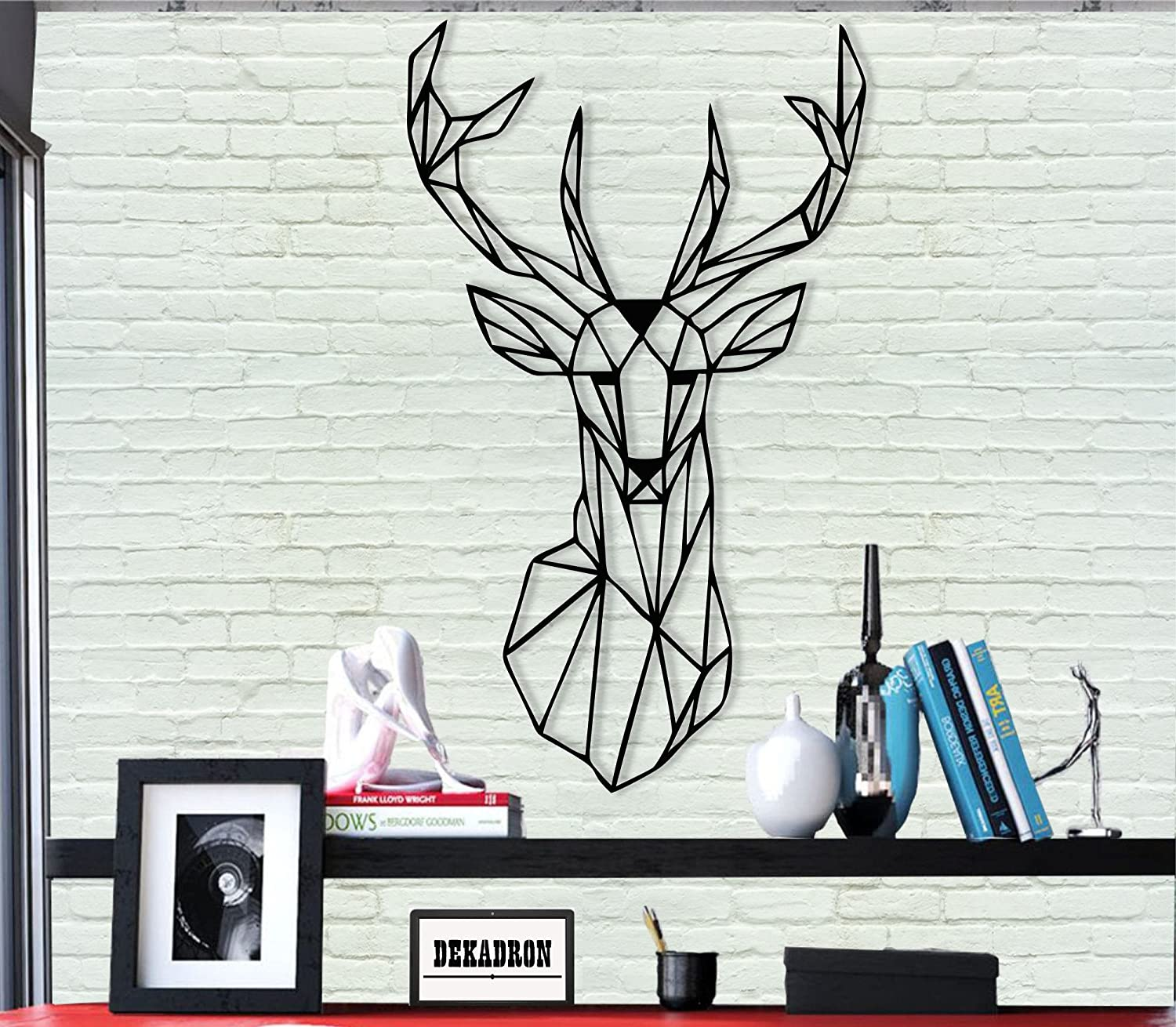 DEKADRON Metal Wall Art - Geometric Deer Head - 3D Wall Silhouette Metal Wall Decor Home Office Decoration Bedroom Living Room Decor Sculpture (18
