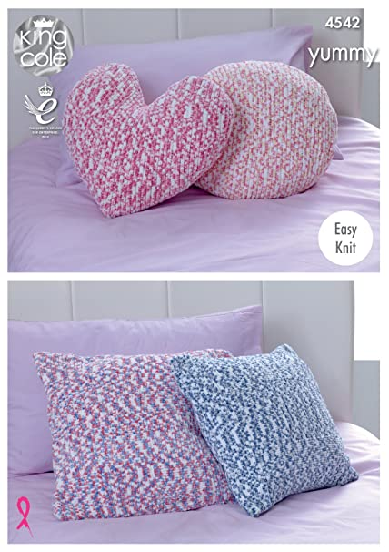 King Cole Knitting Pattern Easy Knit Cushions Heart Round Or Square