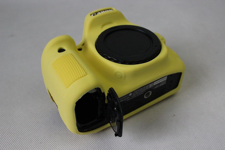 Gel de silicona de protecci/ón de caucho suave c/ámara de la cubierta de la caja de bolsa para Canon EOS 80D c/ámara amarilla