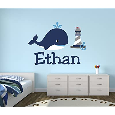 Personalized Whale Name Wall Decal - Nursery Wall Decals - Nautical Wall Decals - Lighthouse Art Vinyl Sticker: Baby