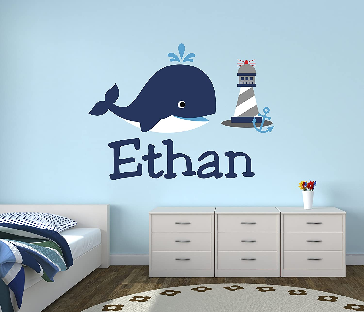 Personalized Whale Name Wall Decal - Nursery Wall Decals - Nautical Wall Decals - Lighthouse Art Vinyl Sticker
