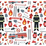 Firefighter Wrapping Paper Party Gift Wrap - Folded Flat 30 x 20 Inch - 3 Sheets