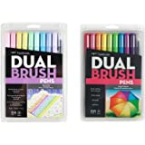 Tombow Dual Brush Pen Art Markers 10-Pack, Pastel with 10 Pack Bright (20 Count Total)
