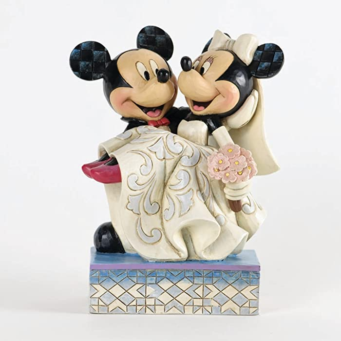 """Disney Traditions by Jim Shore Mickey and Minnie Mouse Cake Topper Stone Resin Figurine, 6.5"""""""