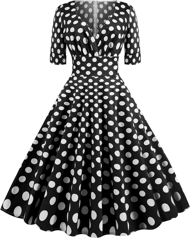 Vintage Black and white spotty dress