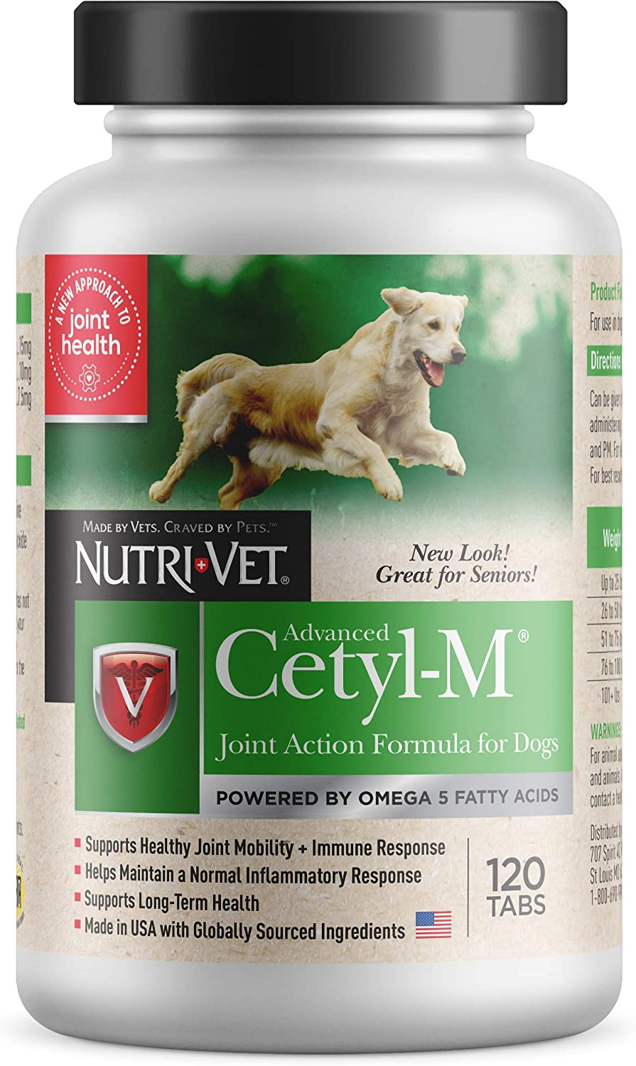 2 Bottles with 120 Tablets Each Cetyl M Advanced Joint Action Formula for Dogs