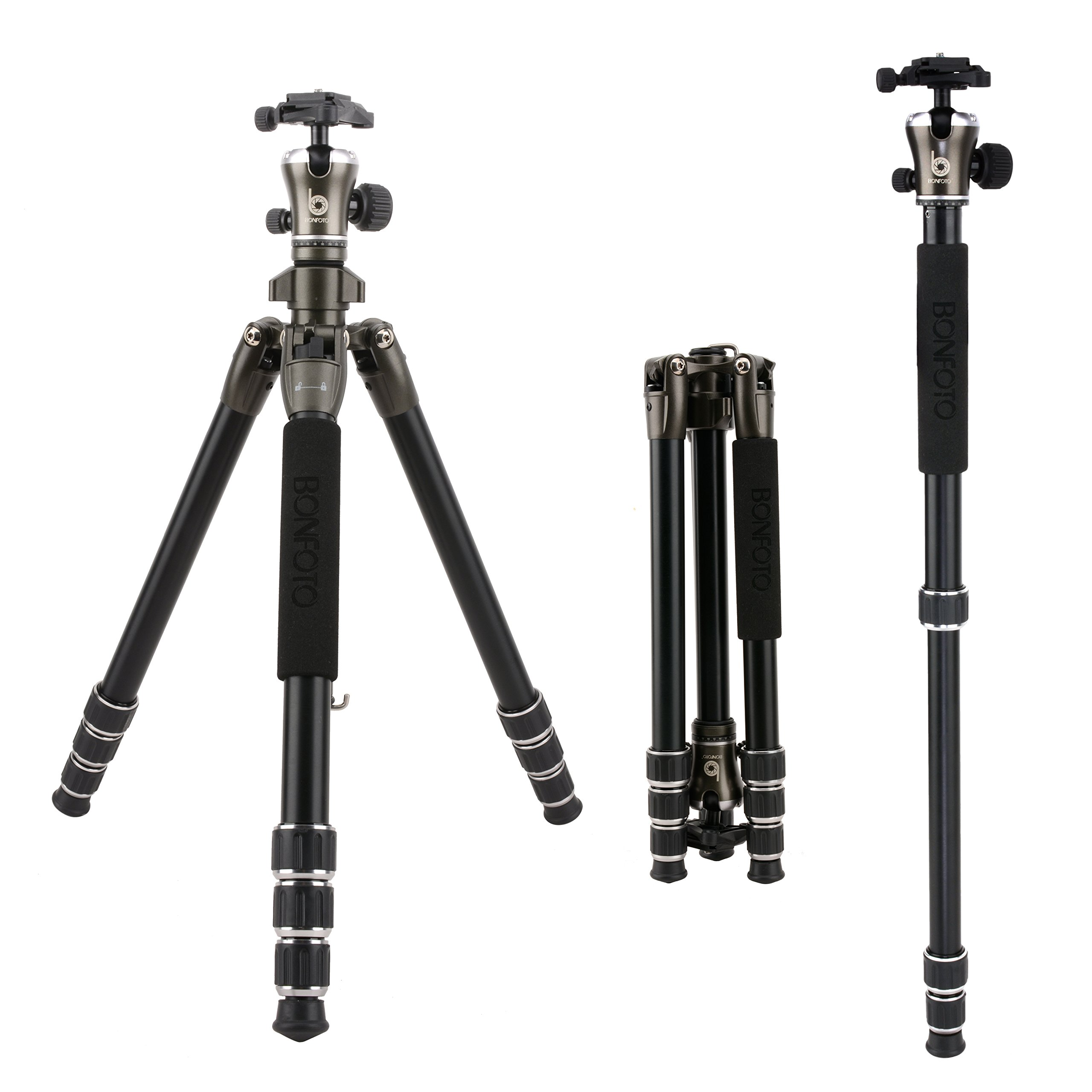 BONFOTO 55 Inch B671A Lightweight Aluminum Alloy Camera Travel Tripod and Monopod with 360 Degree Ball Head + Two 1/4'' Quick Release Plates + Carry Bag for Canon Nikon Sony DSLR DV and Digital Camera