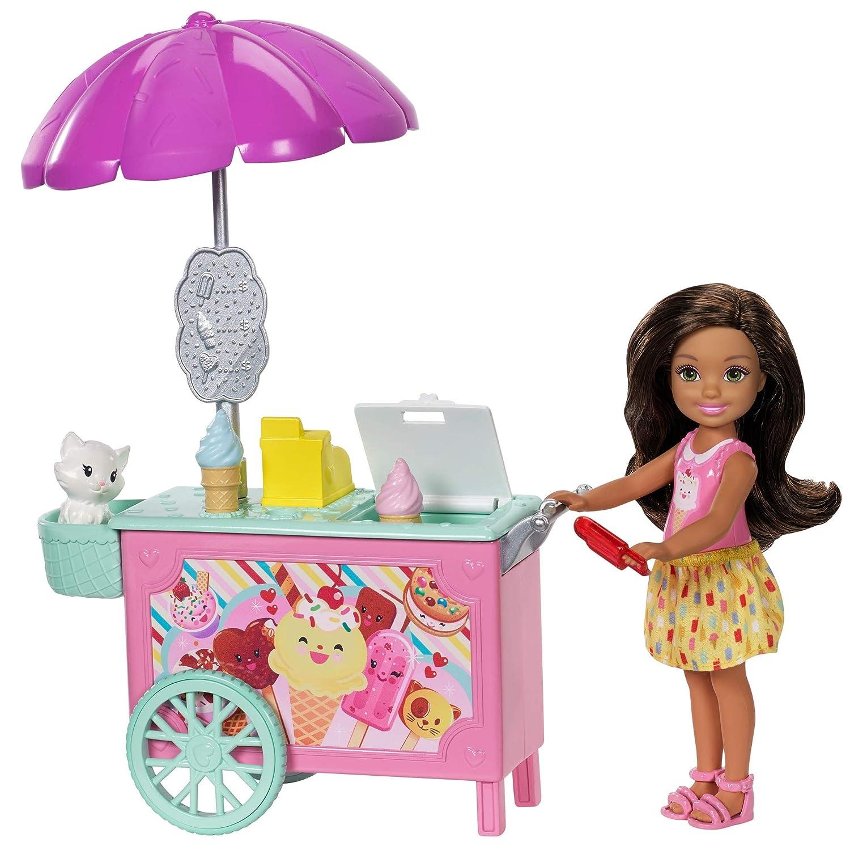 Amazon.es: Barbie Chelsea, Carrito de Helado de muñeca Chelsea, accesorios muñeca (Mattel FDB33): Juguetes y juegos