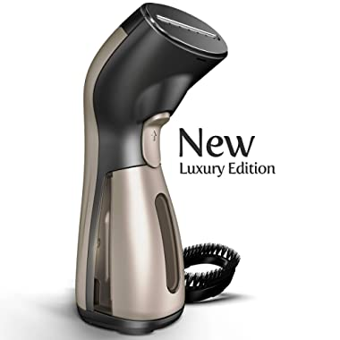 Steamer for Clothes [Luxury Edition] Powerful Dry Steam. Multi-Task: Fabric Wrinkle Remover- Clean- Refresh. Handheld Clothing Accessory. for All Kind of Garments. Home/Travel [MS208 Gold]