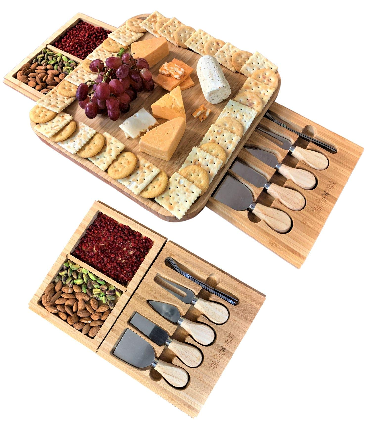 Cheese Board and Knife Set - Wooden Charcuterie - Premium Platter & Serving Meat Tray with Removable Slide-Out Drawers, 4 Knife, 4 Fork, Perfect for Birthday, Housewarming & Wedding Gifts by iBambooMart