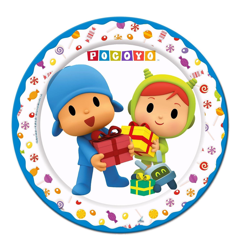 ALMACENESADAN 1104, Pack Desechables Fiestas y cumpleaños Pocoyo y Nina, Compuesto por 6 Vasos, 6 Platos 18 cm y 6 Platos 23 cm