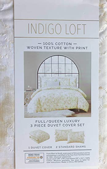 Amazon Com Indigo Loft 3pc Duvet Cover Set Mottled Pattern In Shades Of Sepia And Cream With Textured Tufts 100 Cotton Comforter Quilt Cover With Shams Full Queen Home Kitchen