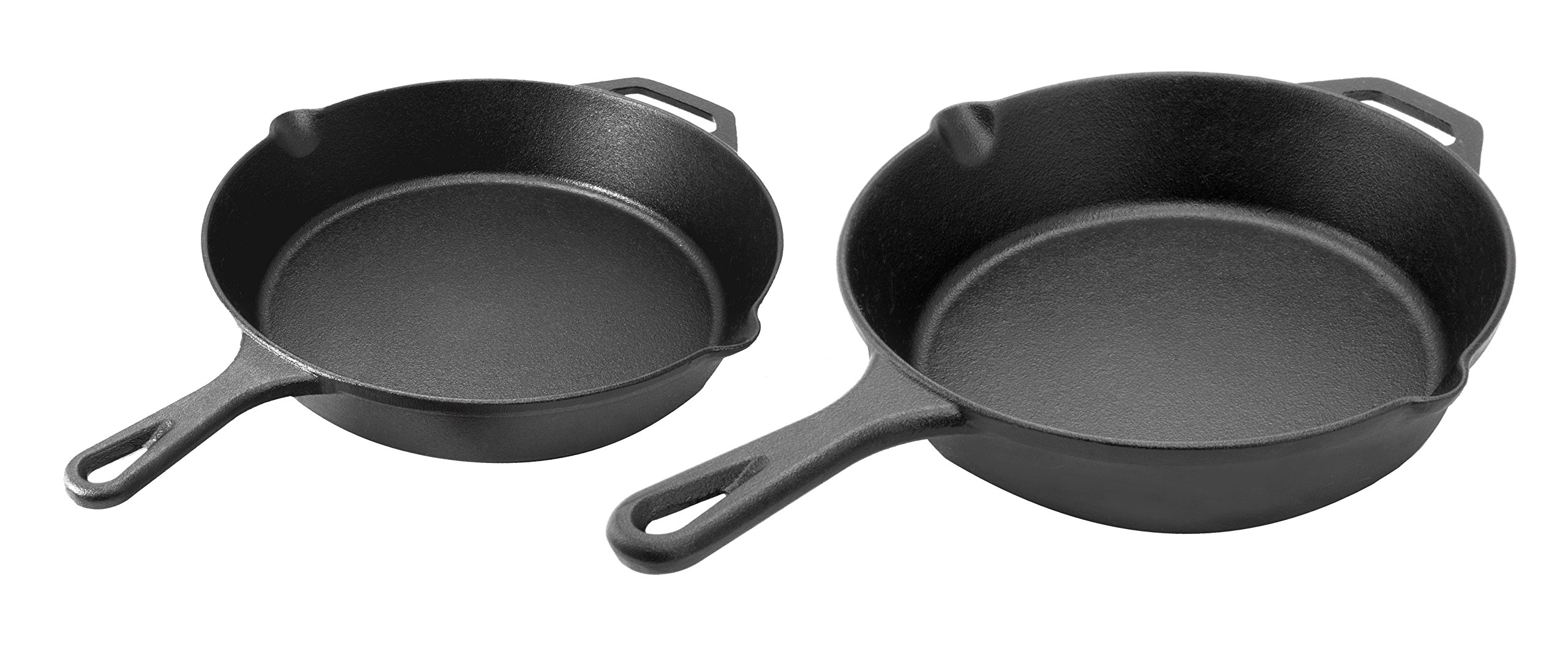 Pre-Seasoned Cast Iron Skillet 2-Piece Set (10-Inch and 12-Inch) Oven Safe Cookware | 2 Heat-Resistant Holders | Indoor and Outdoor Use | Grill, Stovetop, Induction Safe by cuisinel (Image #2)
