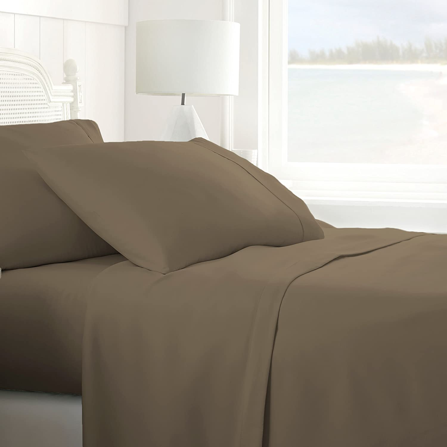 ienjoy Home IEH-4PC-QUEEN-TAUPE 4 Piece Home Collection Premium Ultra Soft Bed Sheet Set, Queen, Taupe