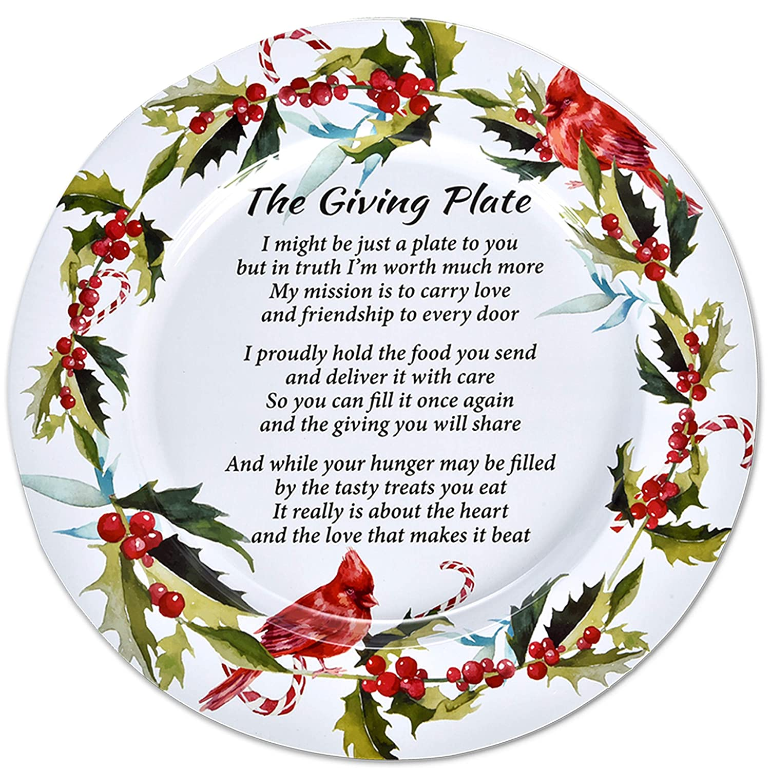 """Set of 4 Christmas Metal Tin Giving Plate with Poem 13"""" Diameter for Friendship Plates for Friends and Family Holiday Sharing Cookie Serving Platters Winterberry Cardinal Design by Gift Boutique"""