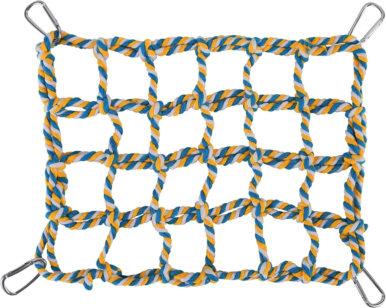 YIHIHI Pet Climbing Rope Net, Bird Climbing Rope Ladder, Sturdy Rope Bridge, Ferret Cotton Rope Net, Rat Hanging Bed Hammock Swing Ladder, Eco-Friendly 100% Organic Cotton Small Animal Habitat Decor.