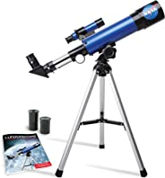NASA Lunar Telescope for Kids – Capable of 90x Magnification, Includes Two Eyepieces, Tabletop Tripod, Finder Scope, and Full