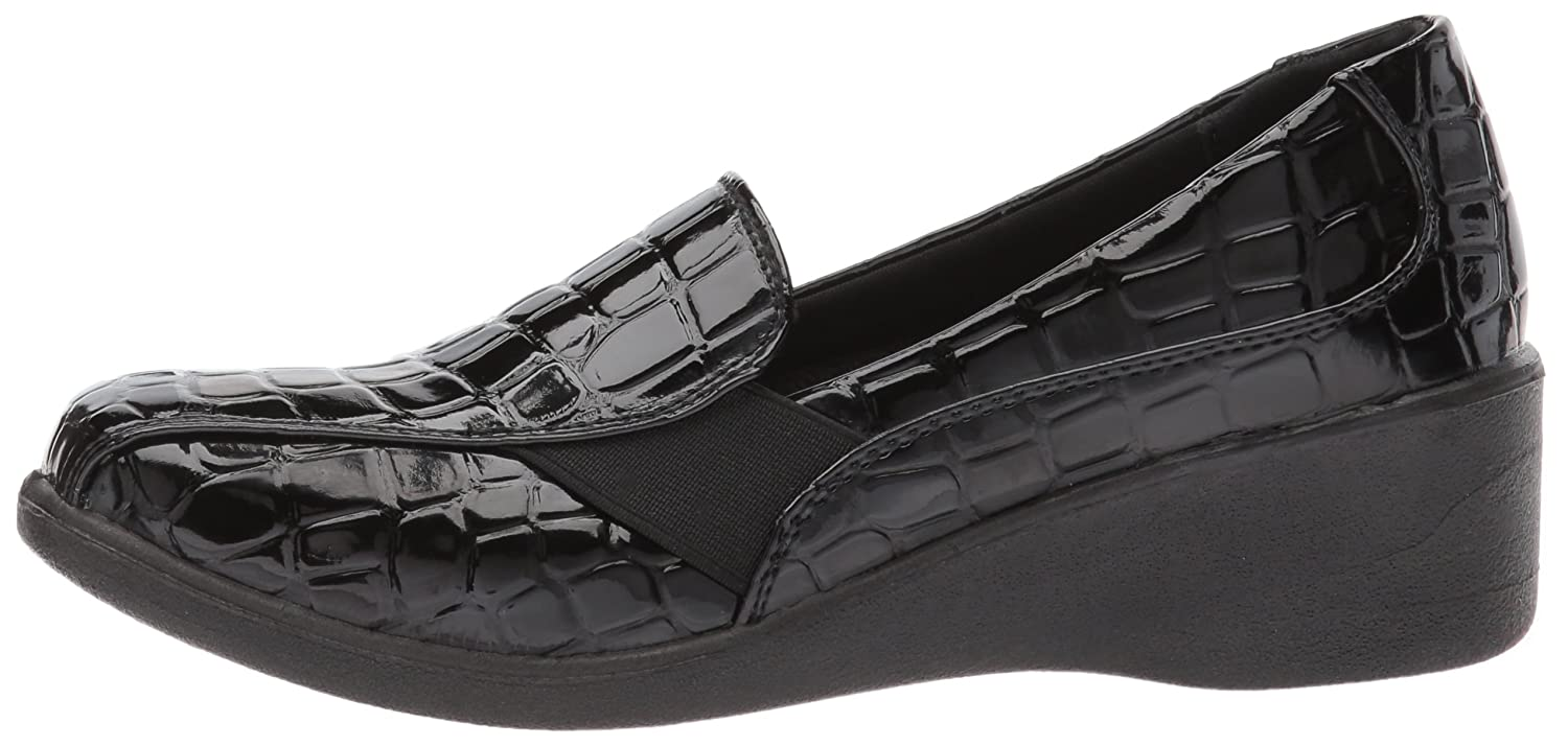 Easy Street Women's Dolores Flat B071255BVH 8 B(M) US|Black Patent Crocodile