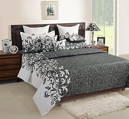 Swayam Grey Colour Fitted Double Bed Sheet With Pillow Covers