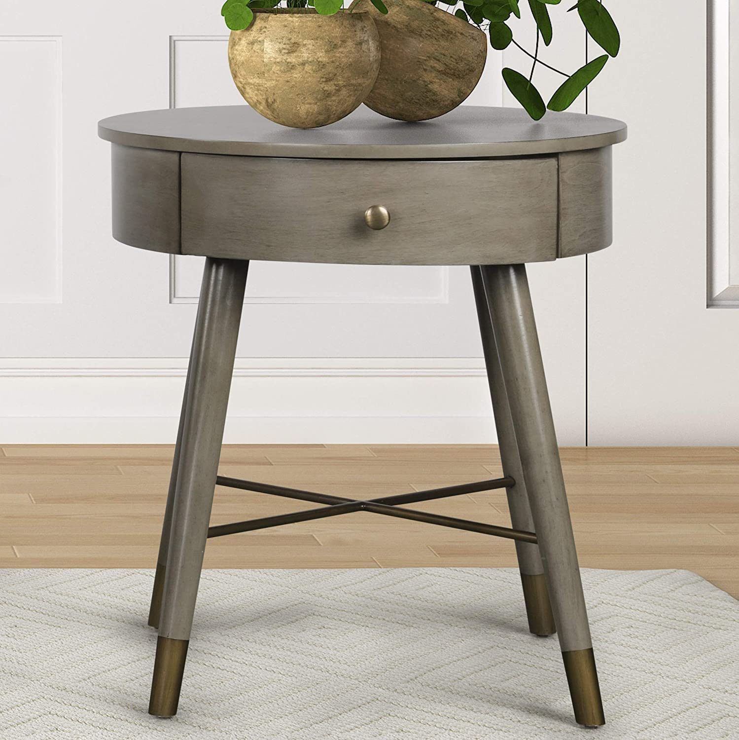 Roundhill Furniture Velsen Mid-Century Modern Wood and Metal End Table with Drawer, Antique Gray