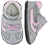 pediped Girls' Cliff Crib Shoe, Grey, Pink, 0-6