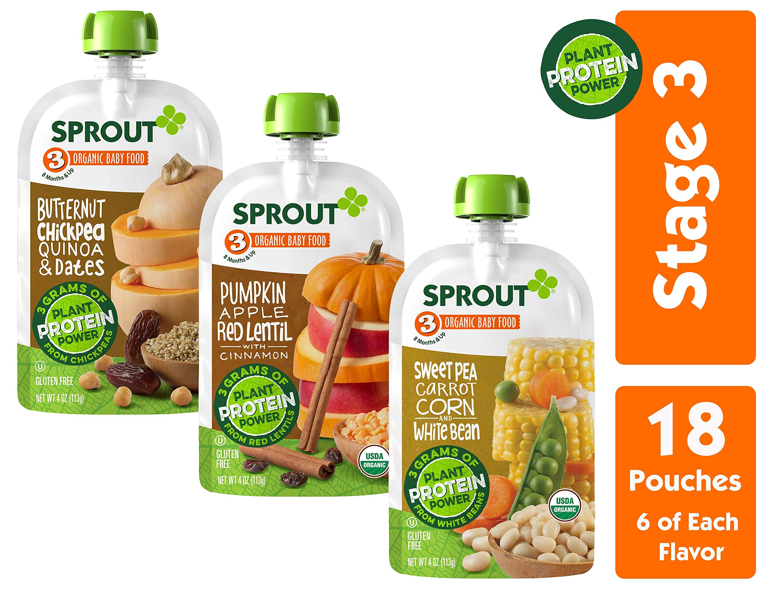 Sprout Organic Stage 3 Baby Food Pouches w/ Plant Powered Protein, Variety Pack, 4 Ounce (Pack of 18) 6 of Each: Butternut Chickpea Quinoa Date, Pumpkin Apple Lentil & Sweet Pea Corn Carrot White Bean by Sprout