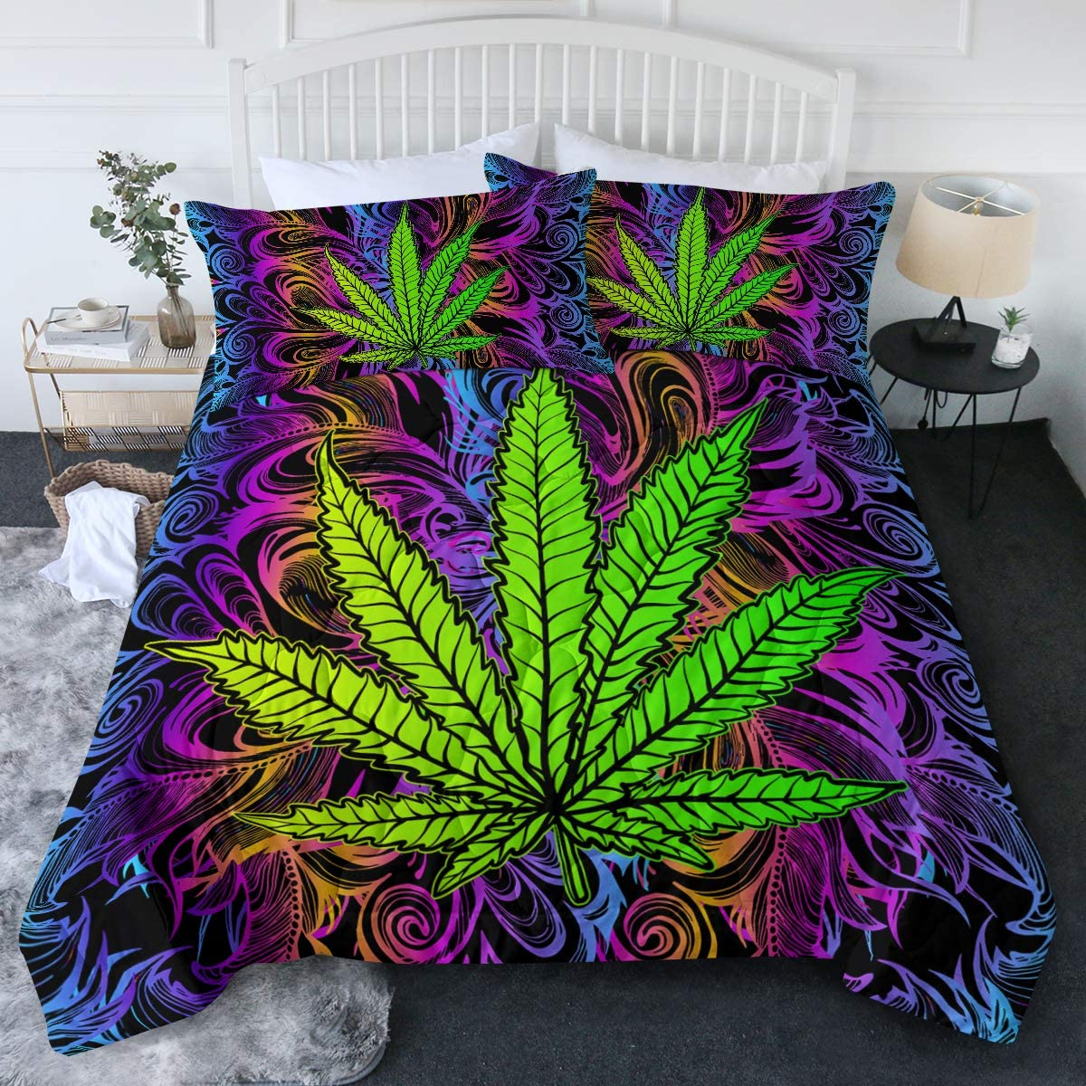 Amazon Com Blessliving Cannabis Leaf Comforter Set 3 Pcs Rainbow Weed Bedding Trippy Leaves Bed Set Bohemian Green Purple Full Queen All Season Bed Comforter Home Kitchen