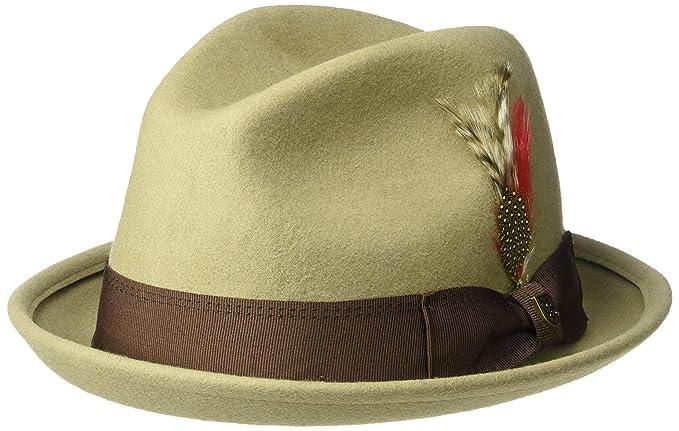 62e56b27db01 Brixton Men's GAIN Short Brim Felt Fedora HAT, Light Khaki/Brown, ...