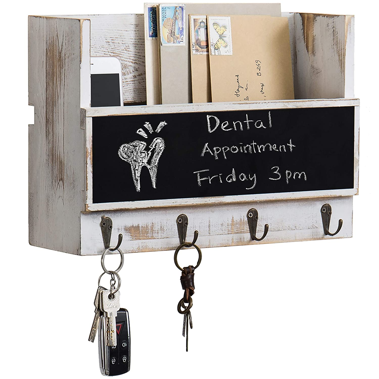 MyGift Whitewashed Wood Wall-Mounted Mail Holder with Chalkboard & Key Hooks