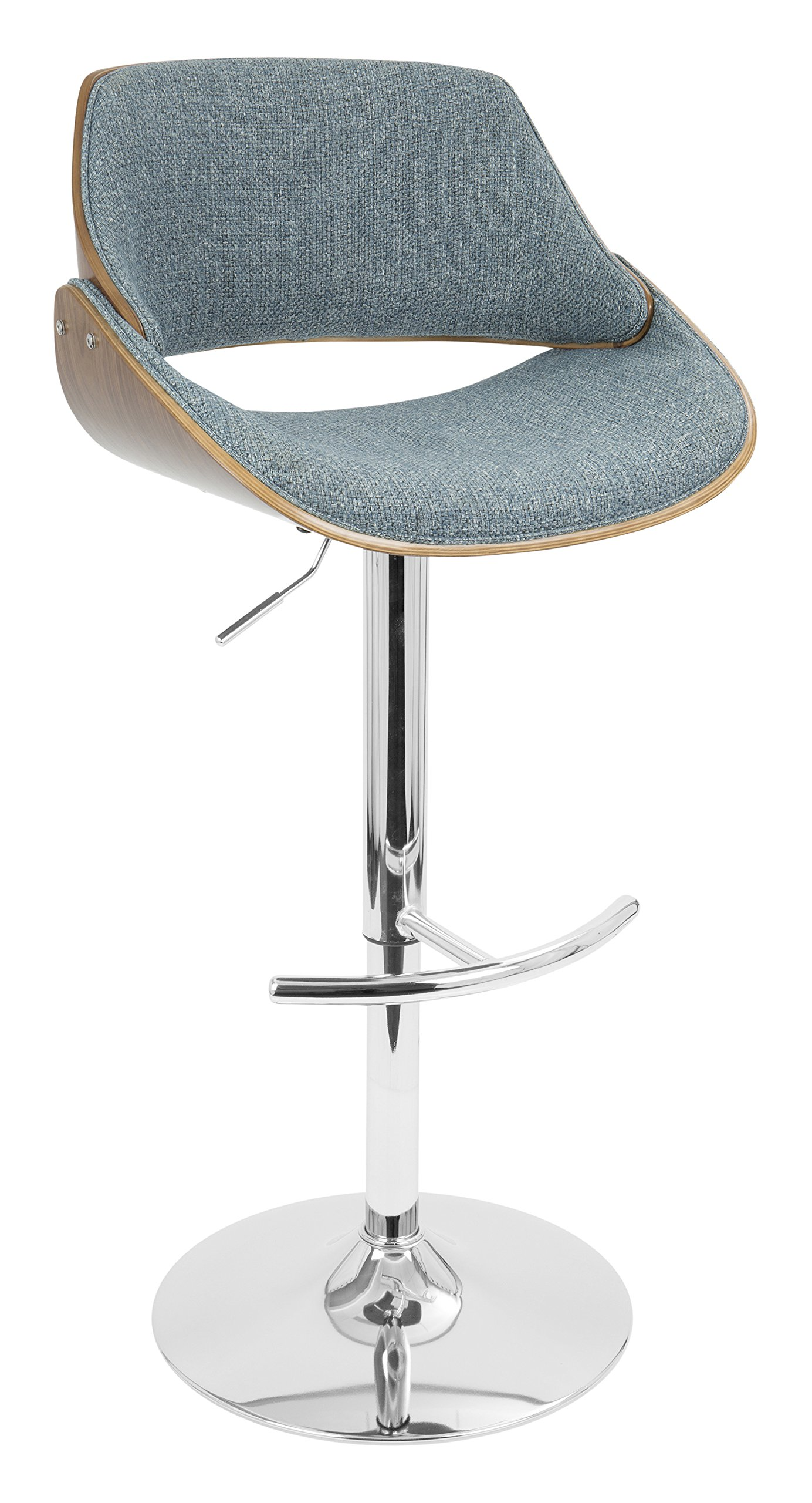 WOYBR BS-FBZZ WL+BU Wood, Chrome, Polyester Fabric, Foam, Fabrizzi Barstool