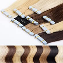 Tape In Extensions 50 cm Echthaar 8er Set Haarverlängerung 4 gr/Tresse Haarteile in schokobraun