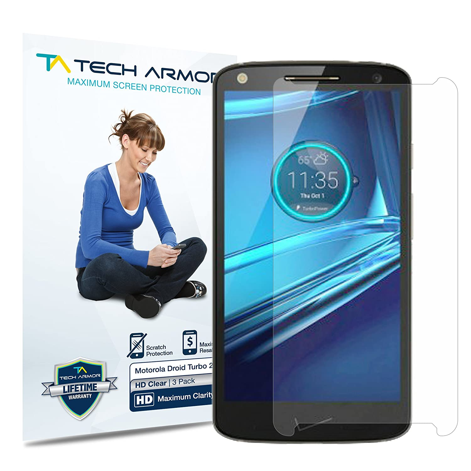 Tech Armor - Pack de 3 Protectores de Pantalla HD-Clear para Droid Turbo 2 de Motorola: Amazon.es: Electrónica
