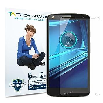 Tech Armor - Pack de 3 Protectores de Pantalla HD-Clear para Droid Turbo 2 de Motorola: Amazon.es: Electrónica