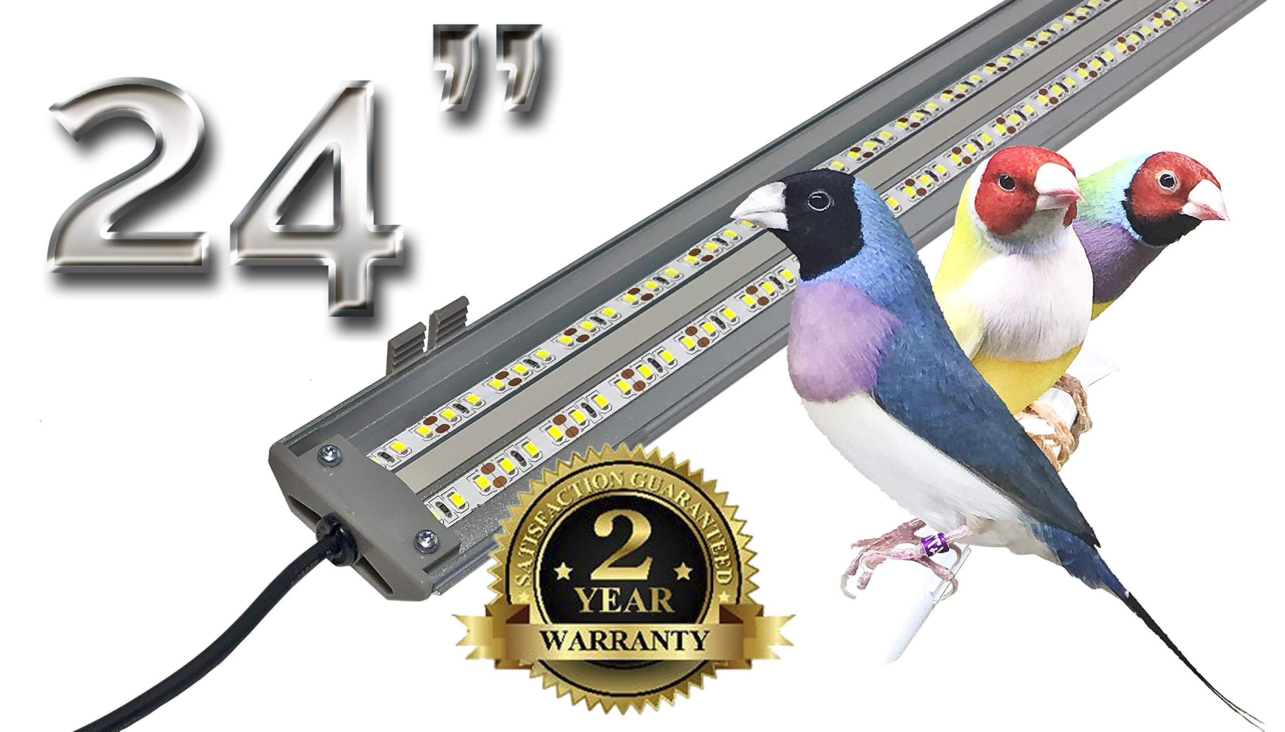 M&M Cage Company EZ PetLight for Softbill Birds - 24 Inch Full Spectrum LED Light for Birds, Reptiles and Aquariums by M&M Cage Company