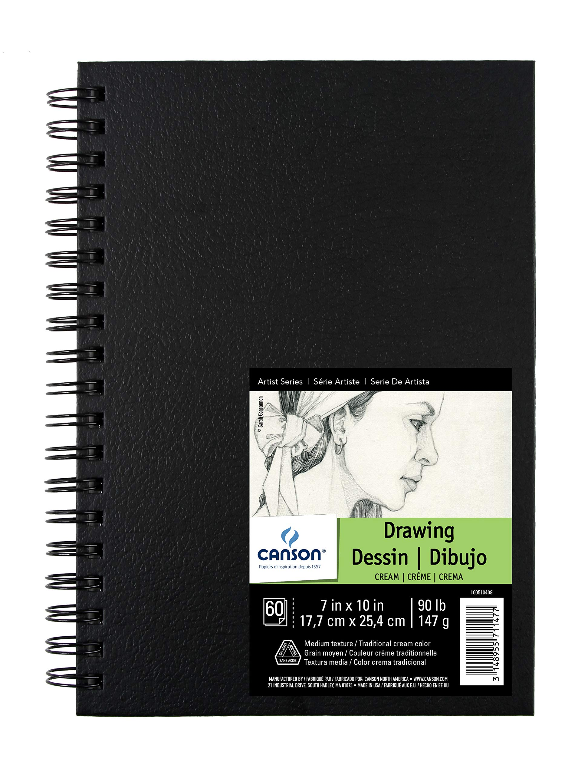 Canson Artist Series Field Drawing Book for Pencil, Pen and Felt Tip Pens, Side Wire Bound, 90 Pound, 7 x 10 Inch, 60 Sheets
