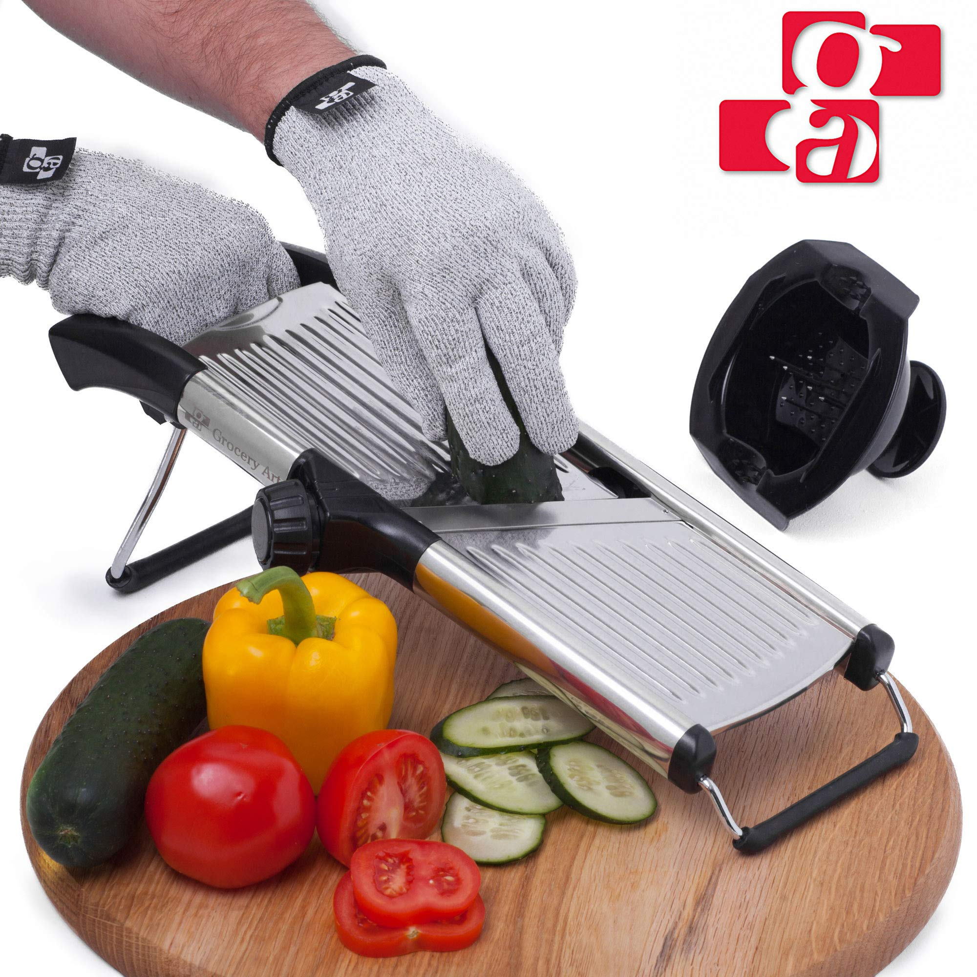 GA Mandoline Slicer - Adjustable Mandolin Vegetable Slicer and French Fry Cutter, Food Slicer, Vegetable Julienne - Thick Sharp Stainless Steel Blades - Cut-Resistant Gloves and Food Holder by Grocery Art