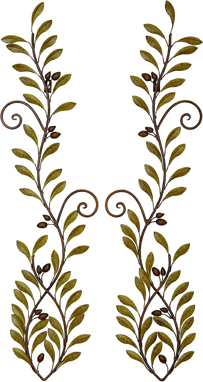 Deco 79 41911 Urban Trends Down Face Fish Metal Wall Decor, 7 by 32-Inch, Brown/Green