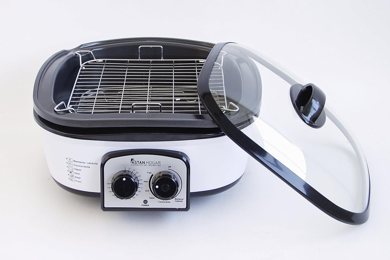 Cocinera Multifunción 8en1, Olla Eléctrica para Cocción Lenta. Con Temporizador hasta Tres Horas. Capacidad 5L. Cubeta Anti-adherente y Múltiples Accesorios. Modelo Exclusivo