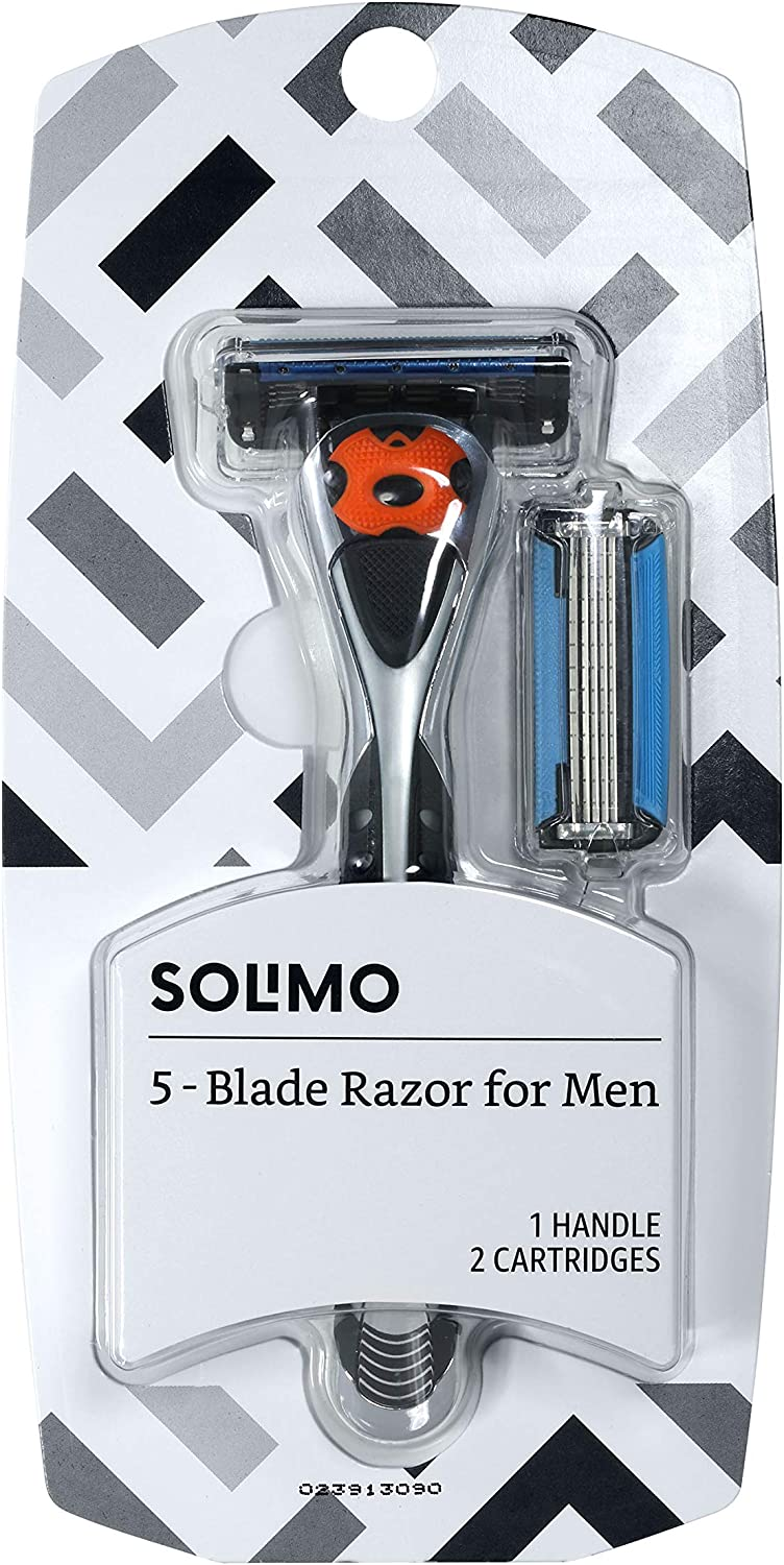Amazon Brand - Solimo 5-Blade MotionSphere Razor for Men with Dual Lubrication and Precision Beard Trimmer, Handle & 2 Cartridges (Cartridges fit Solimo Razor Handles only)
