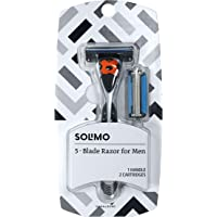 Amazon Brand - Solimo 5-Blade MotionSphere Razor for Men with Dual Lubrication and Precision Beard Trimmer, Handle & 2…